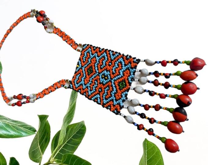 Authentic SHIPIBO SHAMANIC necklace small pechera Maya Kene ancestral design