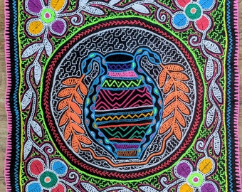 Authentic SHIPIBO AYAHUASCA cloth handmade  embroidery sacred altar shrine  tapestry
