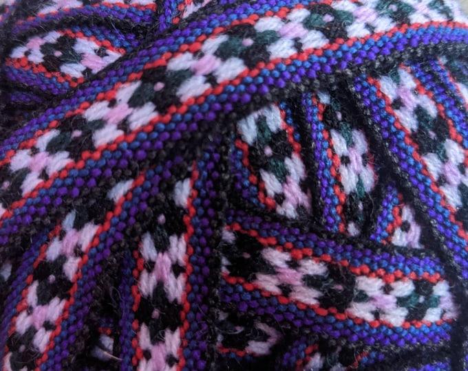 5 meters  Andean INKA PERUVIAN Bohemian wool woven ribbon  Handmade by loom 3/8 in /1 cm