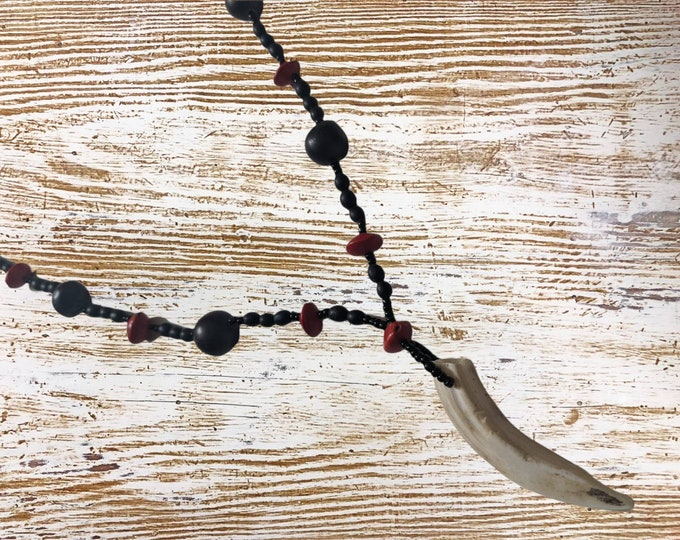 SHAMANIC INDIGENOUS AMAZON tribal choloque  necklace  with wild boar tooth pendant and huayruro seeds