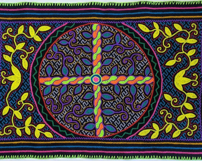 AYAHUASCA FLOWER of LIFE psychedelic art  tapestry altar manta  shamanic cloth wall hanging home decor