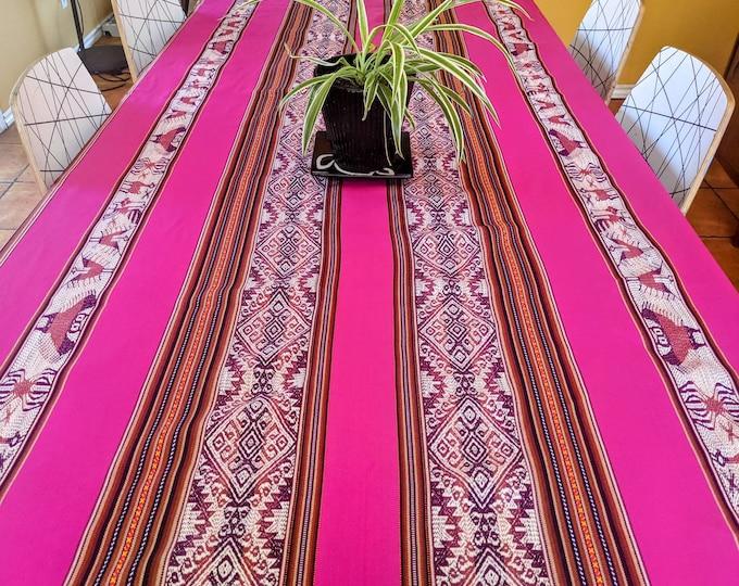 ANDEAN CEREMONIAL TABLECLOTH extra long beautiful spirit animal Peruvian Inka patterns