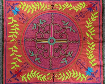 Large SHIPIBO AYAHUASCA flower four directions design from the Peruvian AMAZON rainforest.