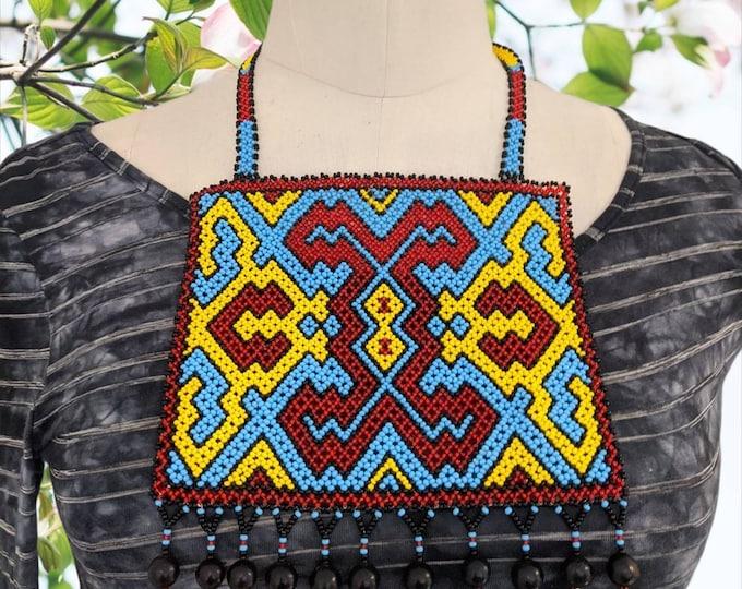 """Large Authentic SHIPIBO SHAMANIC necklace""""pechera Xao Kené milenial ancestral design"""