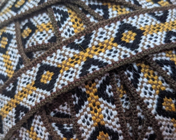 3 or 5 meters Andean INKA PERUVIAN Bohemian wool woven ribbon  Handmade by loom 1 in /2.4 cm