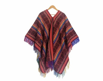 INKA Q'ERO PONCHO authentic unisex shamanic ceremonial outfit Andean Cuzco Peruvian red rainbow colorful fringed cape