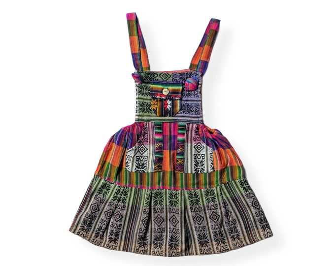 ETHNIC OVERALL DRESS  South American folk bohemian design colorful rainbow  Toddler girls skirt 2T to 3T