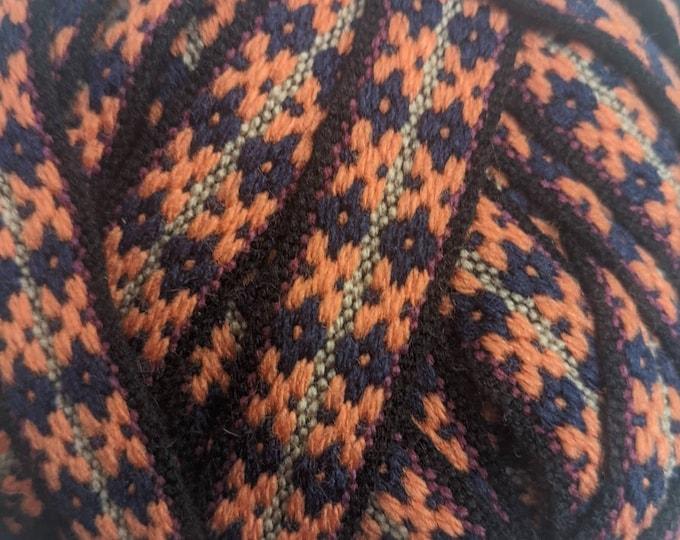 4 meters  Andean INKA PERUVIAN Bohemian wool woven ribbon  Handmade by loom 3/4 in /2cm