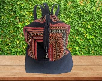 ANDEAN INKA Peruvian Backpack Sac convertible handbag black red stripes bag