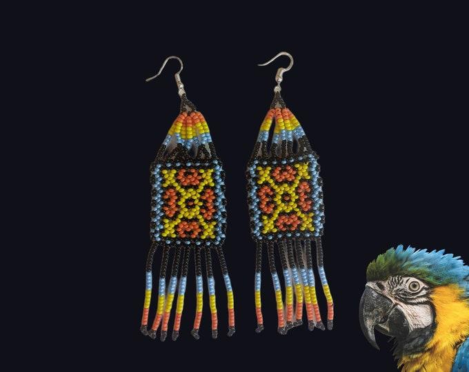 Aunthentic SHIPIBO long kene pattern beaded  EARRINGS