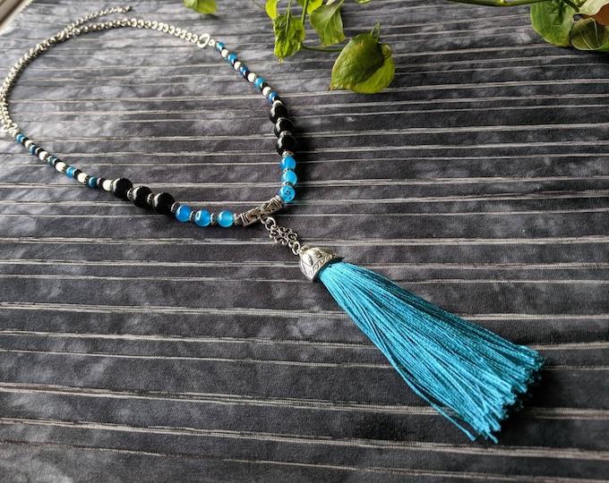 HANDMADE Semi precious GEMSTONES beaded necklace with long TASSEL