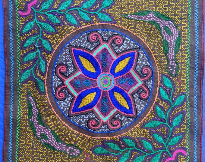 SHIPIBO embroidered tapestry Four directions AYAHUASCA flower of life altar ceremonial cloth
