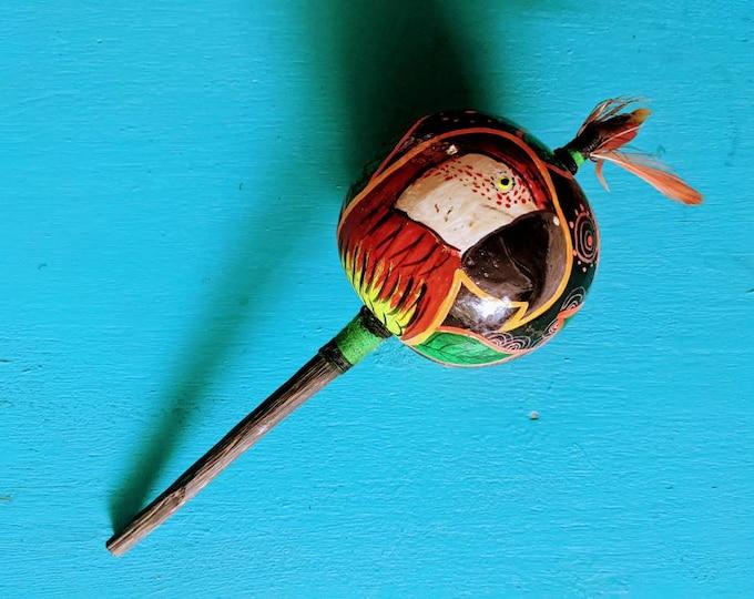 SHIPIBO gourd rattle shaker painted psychedelic art maraca MACAW GUACAMAYO bird