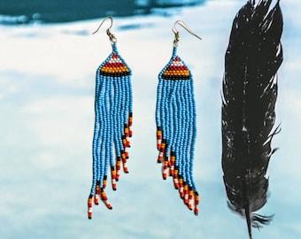 NATIVE tribal long beaded  EARRINGS