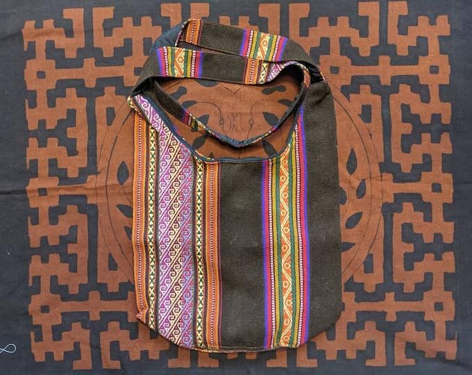 ANDEAN Medicine Hippie Boho shoulder HANDBAG flea market shopping bag  ecofriendly handmade with Aguayo wool fabric brown