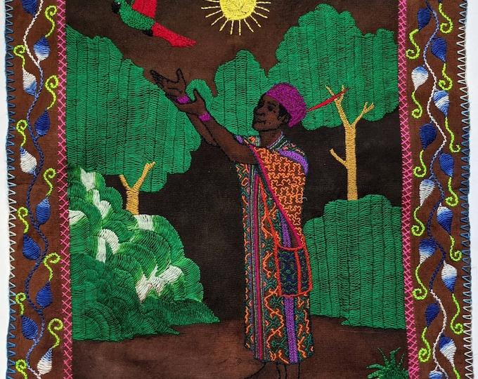 SHIPIBO SHAMAN tapestry   Amazonian Shamanic small handmade embroidered cloth Healer CURANDERO Chaman altar cloth 34x28cms/11x13.5 in