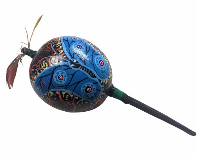 Large SHIPIBO gourd MARACA  Rattle painted lotus flower /Blue morpho butterfly psychedelic art