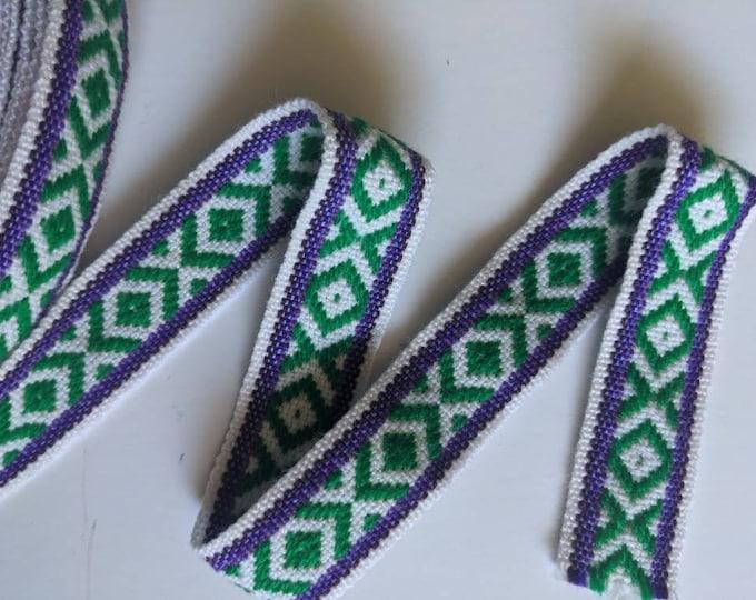 3 or 5 meters Andean INKA PERUVIAN Bohemian wool woven ribbon  Handmade by loom 1.25 in / 3 cm