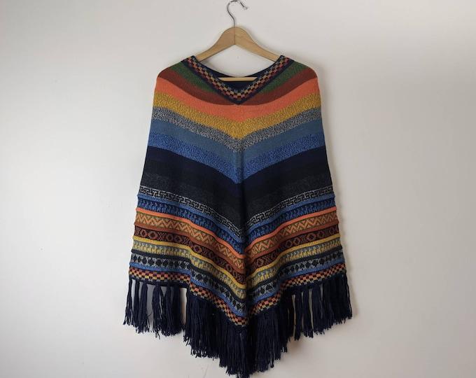 BABY AlPACA PONCHO colorful  Bohemian Boho Andean Peruvian look dark blue striped fringed  cape
