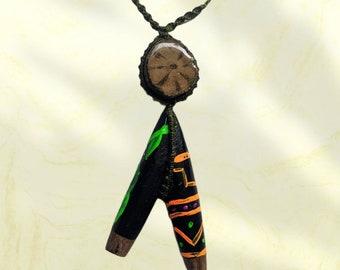 KURIPE TEPI AYAHUASCA  pendant natural fiber woven braided necklace
