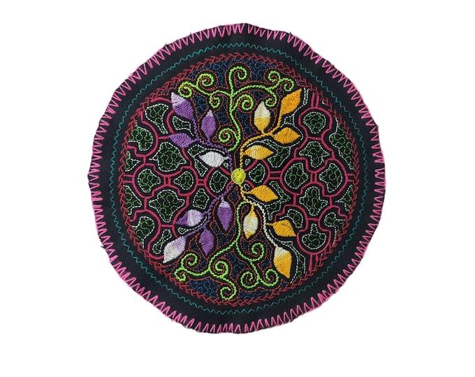 AYAHUASCA SHIPIBO CLOTH round patch healing art for  altar shrine  shamanic tapestry  23cm/9 in