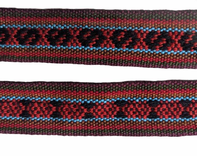 3 or 5 meters  Andean INKA PERUVIAN Bohemian wool woven ribbon  Handmade by loom 1 25 in /3.2 cm