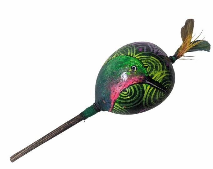 Large SHIPIBO gourd MARACA rattle shaker painted HUMMINGBIRD  psychedelic art