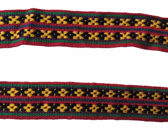 3 or 5 Andean INKA PERUVIAN Bohemian wool woven ribbon  Handmade by loom 1.25 in / 3 cm