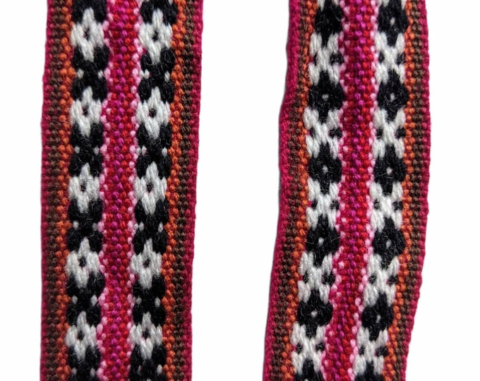 3.5 or 5 meters Andean INKA PERUVIAN Bohemian wool woven ribbon  Handmade by loom 1.25 in / 3 cm