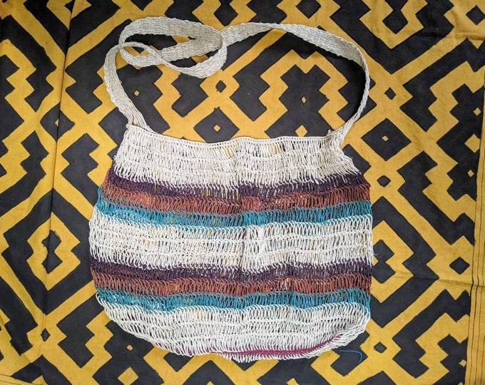 HEMP Hippie shoulder HANDBAG flea market shopping bag  ecofriendly handmade with  CHAMBIRA fibers boho hippie style