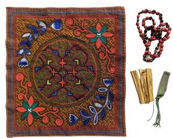 GIFT SET Shamanic Pagan Handmade Shipibo medicine altar cloth  palo santo sticks and woven bracelet huayruro necklace