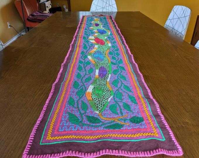ANACONDA large SHIPIBO table runner authentic tribal  shamanic tapestry sacred  altar embroidered cloth