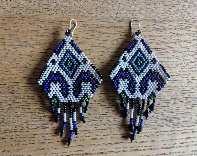 SHIPIBO DESIGNER EARRINGS long chandelier beaded indigenous kene tribal pattern
