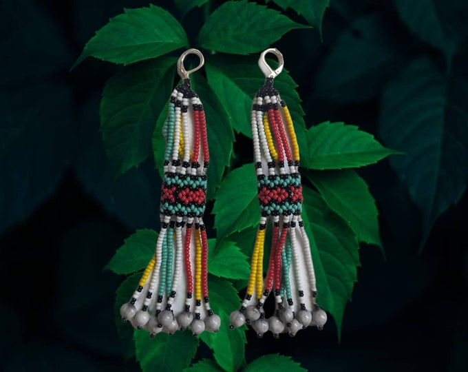 Aunthentic SHIPIBO  long beaded  seeds  EARRINGS