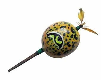 SHIPIBO gourd MARACA rattle shaker painted JAGUAR eye psychedelic art
