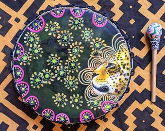 SHIPIBO PSYCHEDELIC Shamanic DRUM and drumstick  painted by artist Shimpu Jaguar profile 15in 38 cms