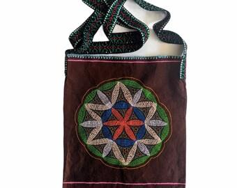 FLOWER of LIFE  MEDICINE  shoulder bag  embroidered  Amazonian  plant medicine Aya handbag for spiritual shamanic  healing tools