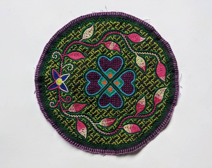 "10"" AYAHUASCA SHIPIBO flower of Life round mandala  tapestry cloth patch"