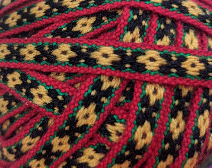 5 meters Andean INKA PERUVIAN Bohemian wool woven ribbon  Handmade by loom 0.5 in /1.3 cm