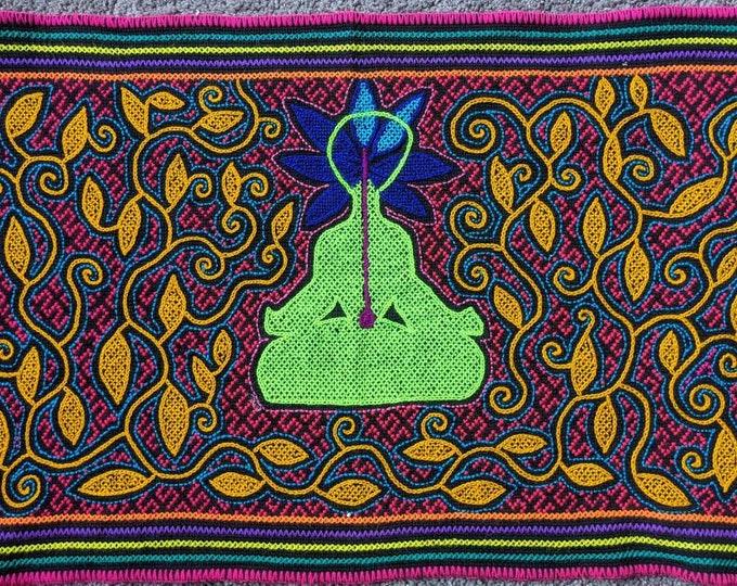 AWAKENING ENLIGHTENMENT SHIPIBO Cannabis head Meditation  psychedelic art  tapestry altar manta  shamanic cloth wall hanging home decor