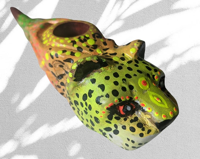 JAGUAR CEREMONIAL PIPE  One of a kind and painted psychedelic art