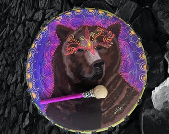 Shamanic SHIPIBO Drum with drumstick double sided Psychedelic art BEAR SPIRIT animal  painted vision  by Shipibo artist Shimpu  18.1in 46cms