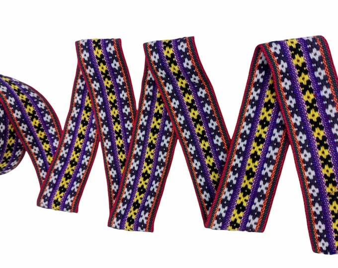 3 or 5 meters Andean INKA PERUVIAN Bohemian wool woven ribbon  Handmade by loom 1.75 in / 4.5 cm