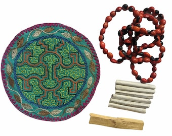 GIFT SET Shamanic Pagan Handmade Shipibo medicine mandala Palo Santo Mapacho and Huayruro necklace