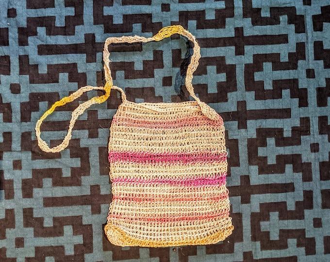 BOHO HANDBAG Market shopping  bag ecofriendly crossbody handmade with  CHAMBIRA fibers