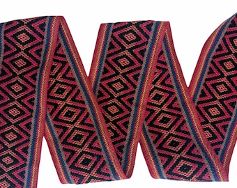 100 cms / 1.09 Yd WIDE  Andean INKA PERUVIAN Bohemian wool woven ribbon  Handmade by loom 3.14 in / 8 cm