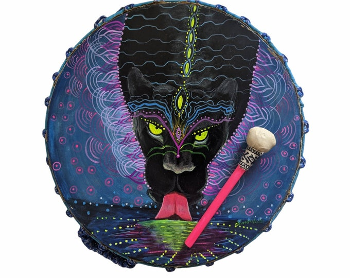 Shamanic SHIPIBO Drum and drumstick double sided Psychedelic art JAGUAR SPIRIT animal  painted vision  by Shipibo artist Shimpu 18.1in 46cms