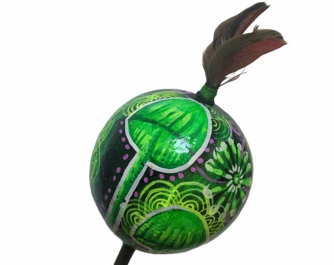 Magic MUSHROOMS  SHIPIBO gourd MARACA rattle painted Psilocybin  psychedelic art glow in the dark