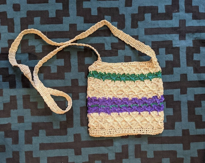 HEMP HANDBAG ecofriendly crossbody handmade with  CHAMBIRA fibers boho hippie style