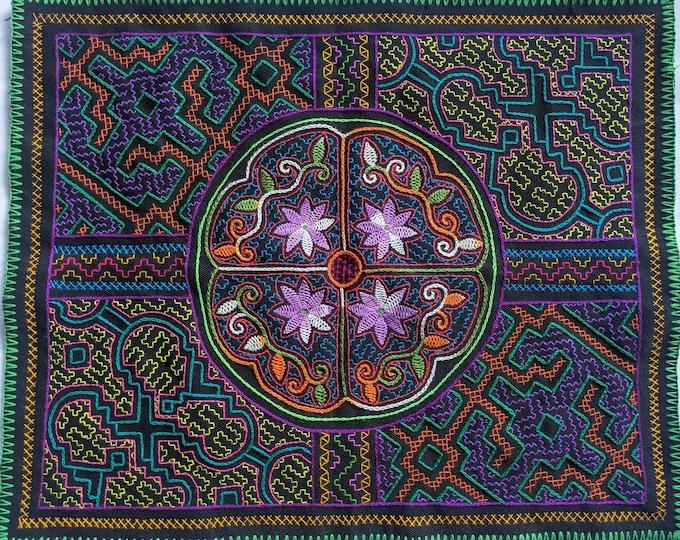 SHIPIBO tapestry FOUR DIRECTIONS inspired on  Ayahuasca vine vision shrine altar sacred cloth